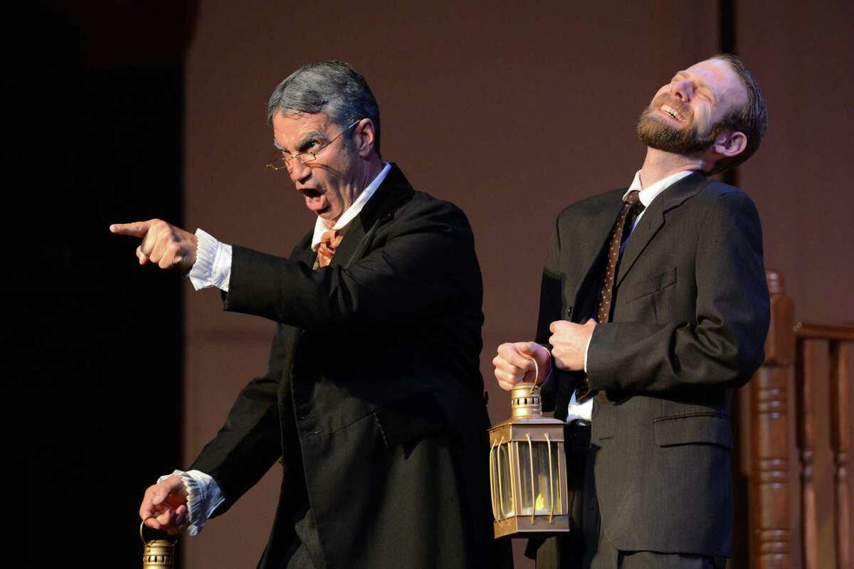 """Stefano de Peppo, left, plays Don Pasquale and Wesley Landry is Dr. Malatesta in Opera in the Heights' production of Gaetano Donizetti's """"Don Pasquale."""""""