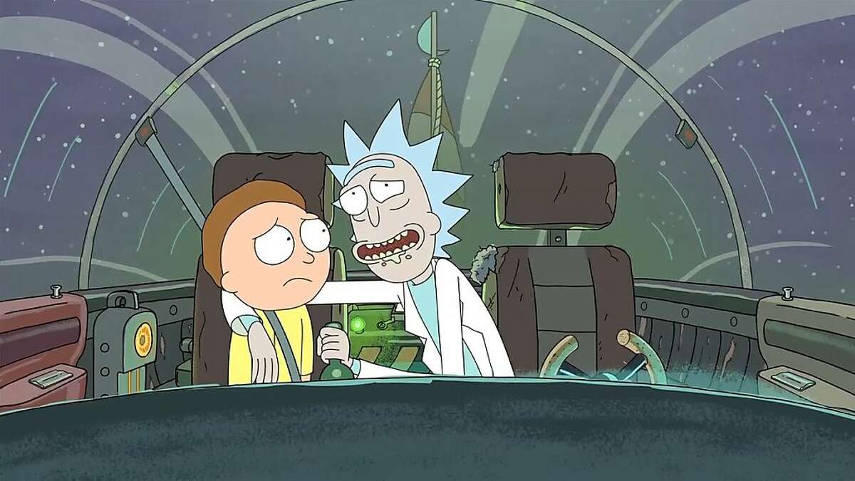 Morty (left) and his granddad Rick, both voiced by creator Justin Roiland, go on epic and wacky space adventures in