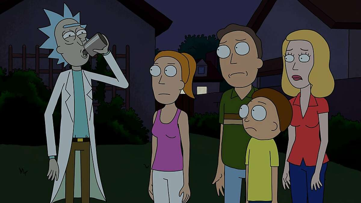 Grandpa Rick (left) spends time with his daughter's family, including Summer, Jerry, Morty and Beth, in