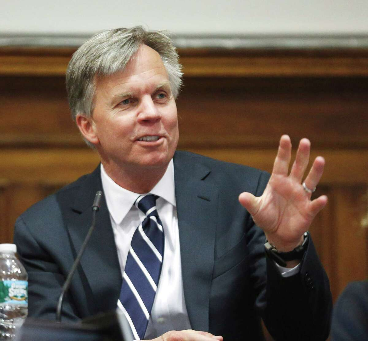 J.C. Penney Chief Executive Officer Ron Johnson gestures from the witness stand at State Supreme Court in New York, Friday, March 1, 2013. The retailer is locked in a legal battle with against rival Macy's Inc. over a partnership with domestic diva Martha Stewart. The trial, which began Feb. 20, focuses on whether Macy's has the exclusive right to sell some of Martha Stewart branded products such as cookware, bedding and bath items. (AP Photo/Thomas Iannaccone, Pool)