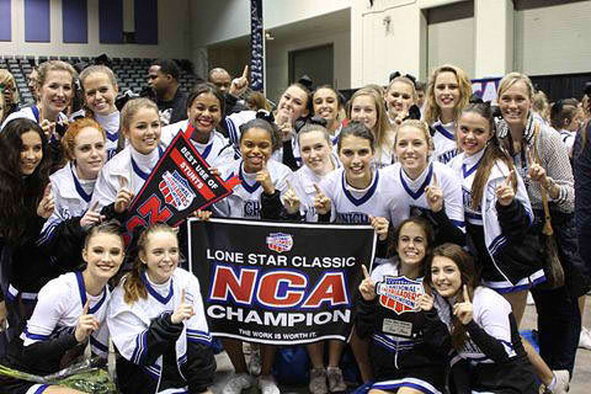 The Episcopal High School cheerleaders celebrate their victory.