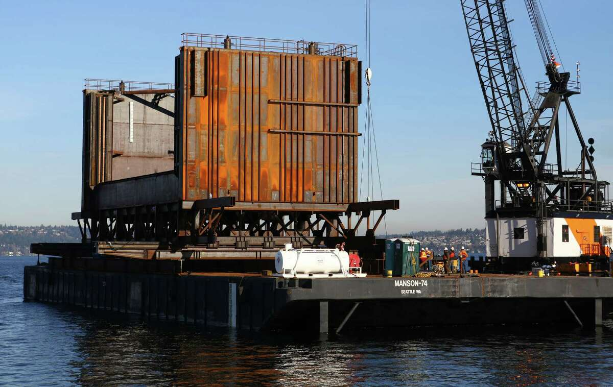 A massive 650-ton steel box called a coffer cell is shown during a tour of the 520 floating bridge rebuild project on Friday, November 22, 2013. The structure will be used to repair defective pontoons that will be used to construct the new 520 floating bridge.