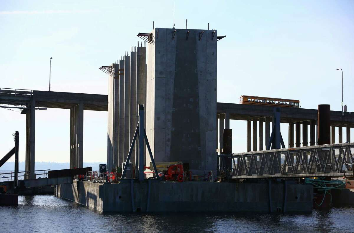 A new pontoon with support columns is shown during a tour of the 520 floating bridge rebuild project on Friday, November 22, 2013.