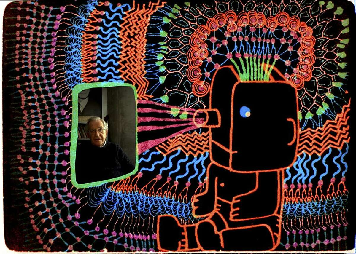"""In an undated handout photo, a scene from """"Is the Man Who Is Tall Happy?"""" In the unconventional documentary, director Michel Gondry uses animation to explore the ideas of the linguist and philosopher Noam Chomsky. (Sundance Selects via The New York Times) -- NO SALES; FOR EDITORIAL USE ONLY WITH STORY SLUGGED MAN FILM REVIEW BY DARGIS. ALL OTHER USE PROHIBITED."""