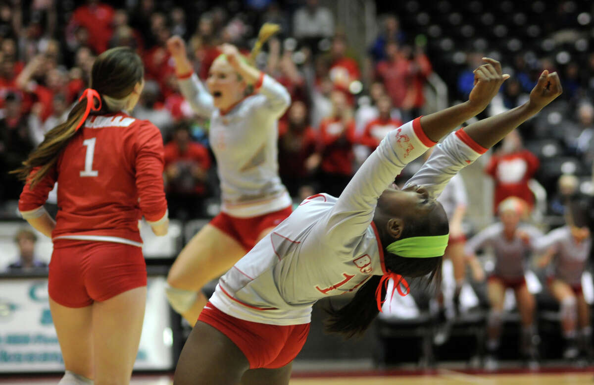 It was evident that the thrill of victory belonged to junior Ashley Traylor, right, and her Bellville teammates following their four-set win over College Station in the Class 3A semifinals Friday in Garland.