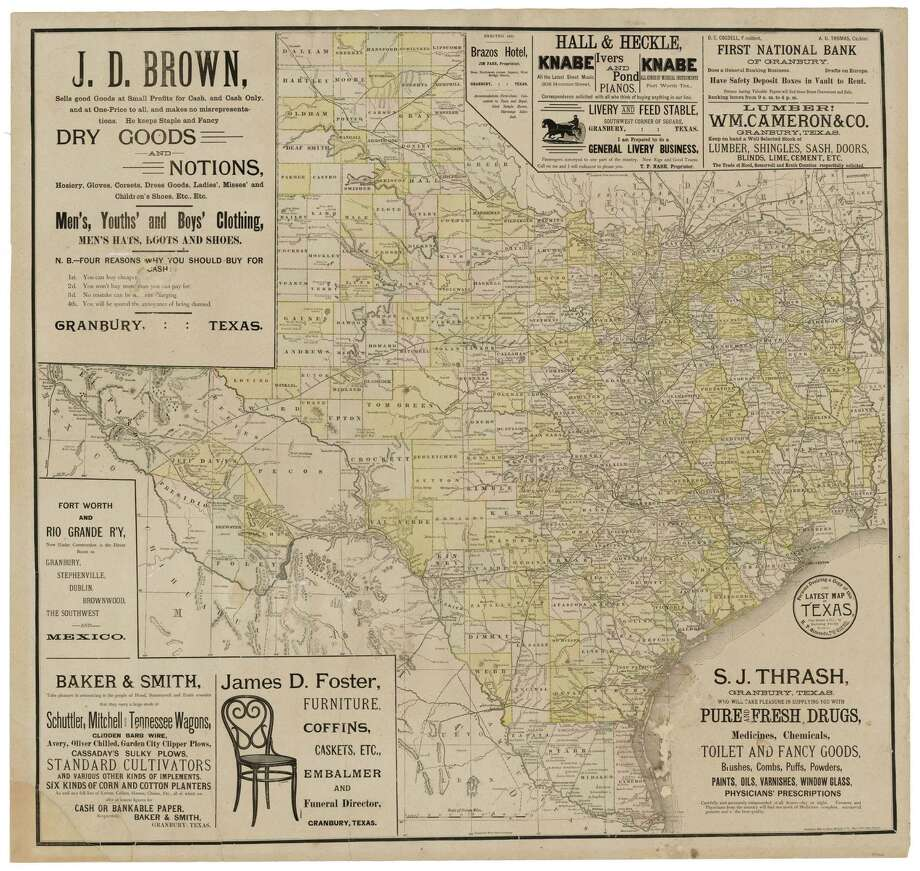 A map of Texas in 1889. Photo: Courtesy Texas General Land Office