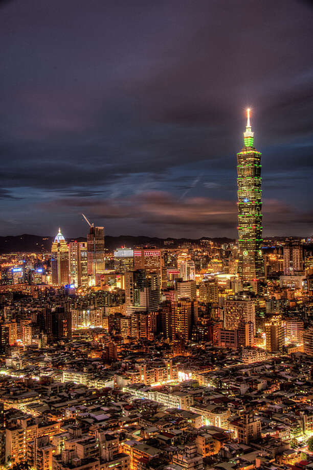 Taipei Skyline at sunset by davidwilsonphotogray.  See the original photo at, http://www.flickr.com/photos/dawilson/9469519949/ Photo: Flickr