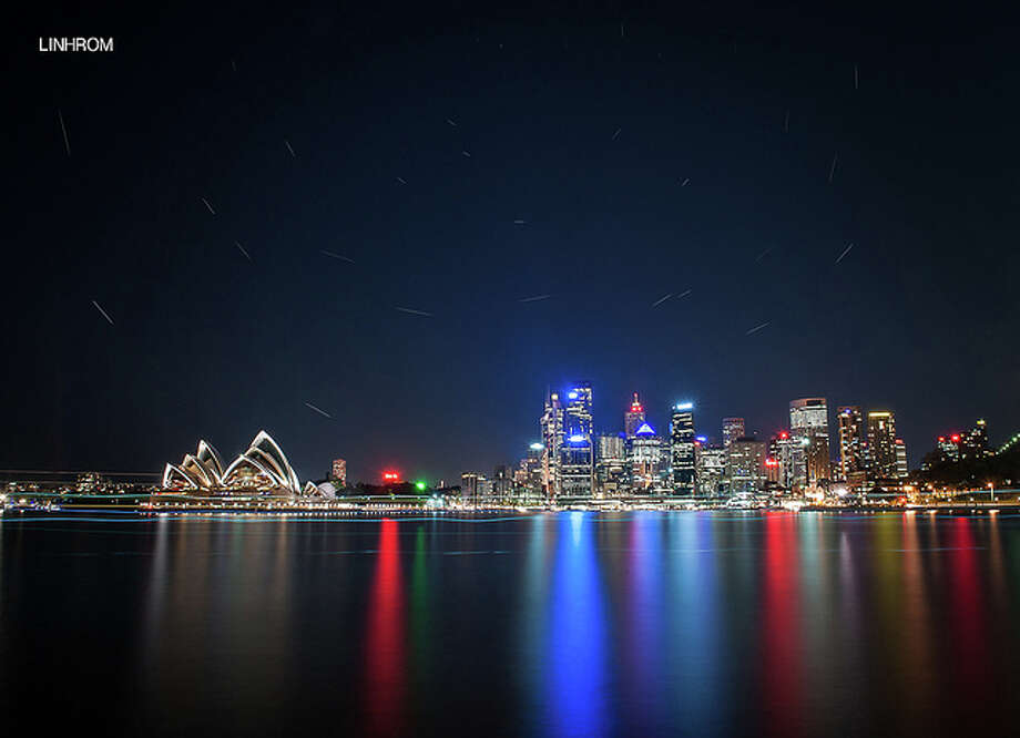Sidney skyline & Opera House with startrails Aprill 2012 by Linh_rOm.  See the original photo at http://www.flickr.com/photos/linh_rom/7078500671/ Flickr/creative commons license Photo: Flickr
