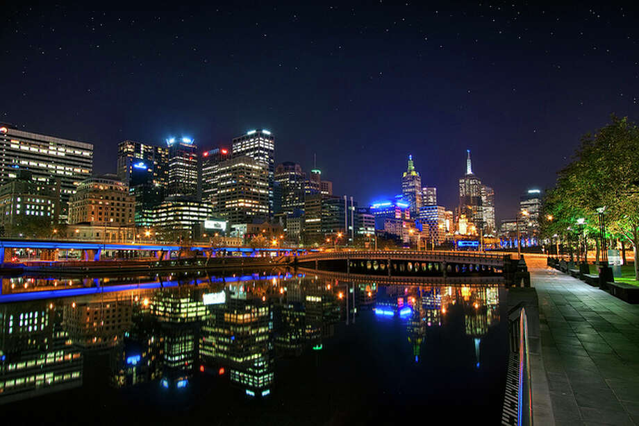 'Night Life' Australia, Melbourne, Skyline at Night by WanderingtheWorld (www.ChrisFord.com).  See the original photo at http://www.flickr.com/photos/chrisschoenbohm/4666273930/ Flickr/creative commons license Photo: Flickr