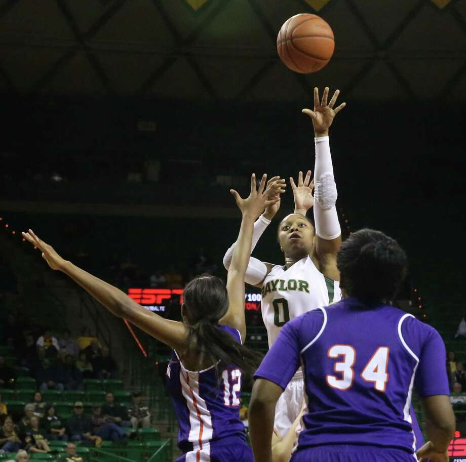 Baylor senior guard Odyssey Sims (0) did most of the heavy lifting with 30 points in Friday night's lopsided win over Northwestern State. Photo: Michael Bancale, MBO / Waco Tribune Herald