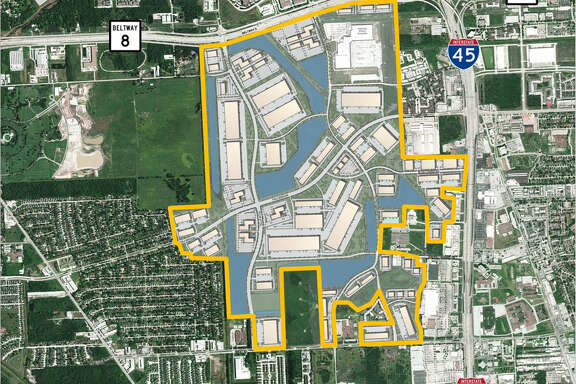 Aerial view of the master plan of the Pinto Business Park, which ultimately will encompass 8 million square feet of space.