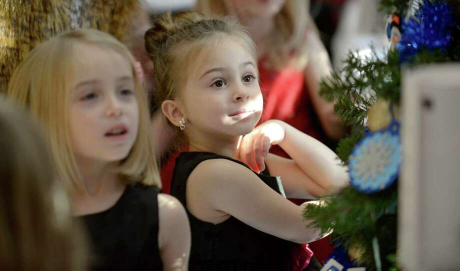 Kelly Biasetti, 4, right, of New Fairfield, looks at one of the many decorated trees on display during the Ann's Place Festival of Trees held at the Matrix Conference & Banquet Center in Danbury, Conn, on Saturday, November 23, 2013. The event continues on Sunday, 10 am to 5 pm. Next to her is Kaitlyn Biasetti, 4. Photo: H John Voorhees III / The News-Times Freelance
