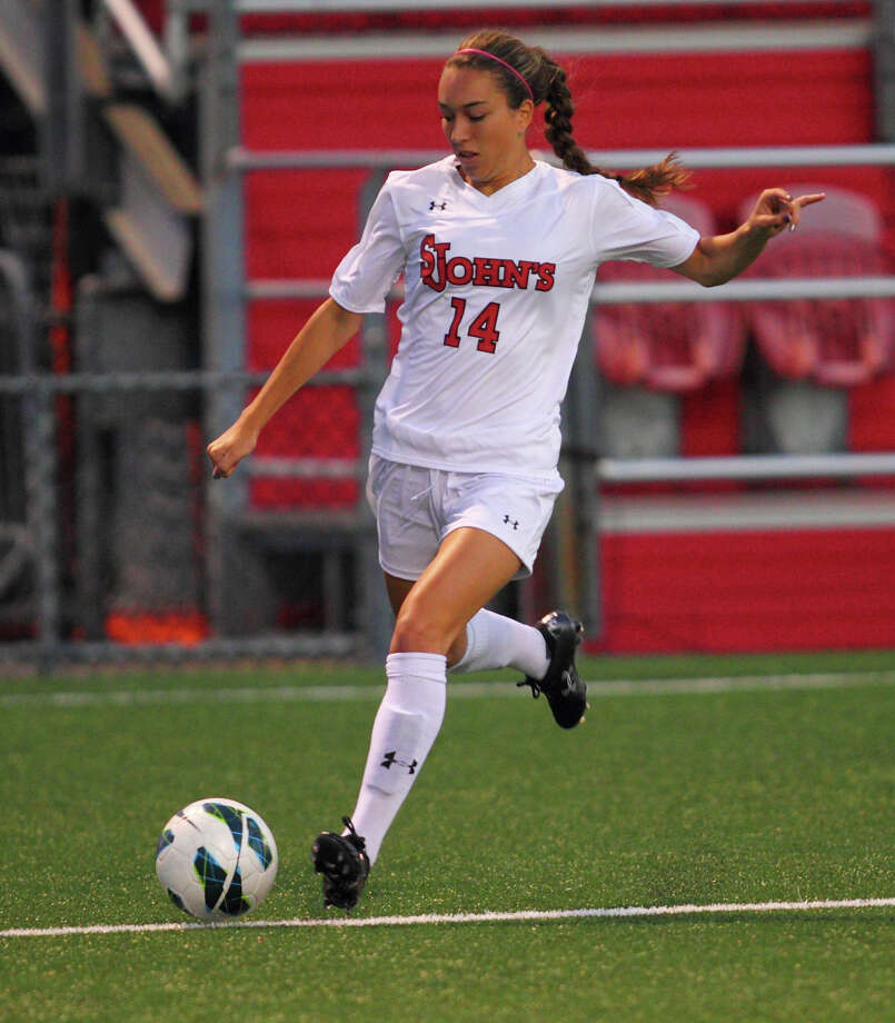 Miranda Haraughty, freshman forward for St. John's University. (Photo by Vincent Dusovic)