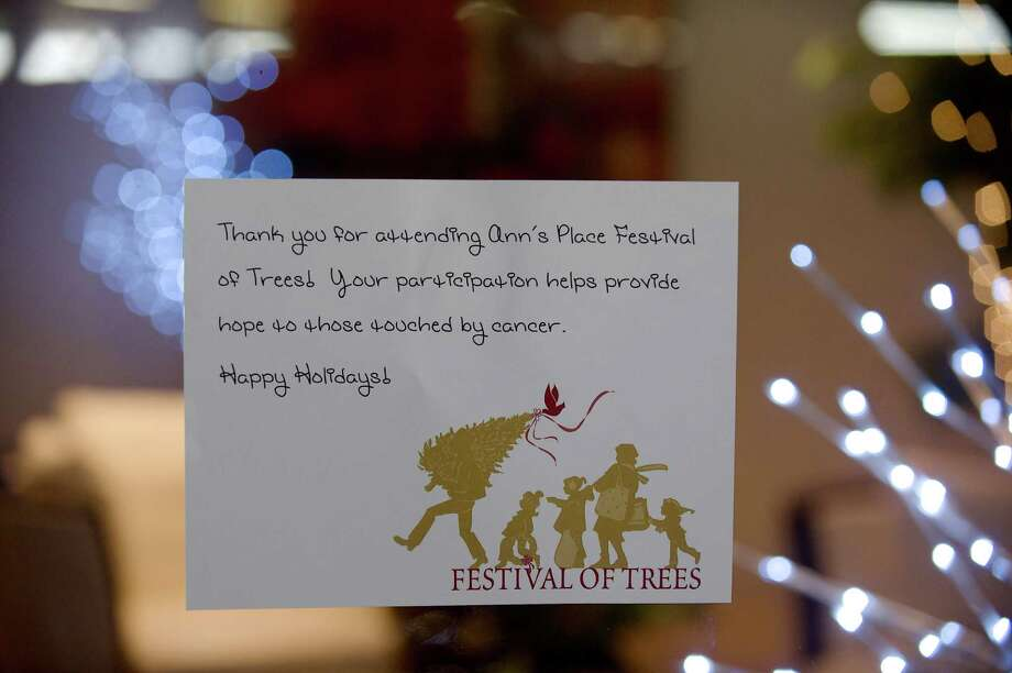 A sign at the entrance to the Ann's Place Festival of Trees at the Matrix Conference & Banquet Center in Danbury, Conn, on Saturday, November, 23, 2013.  The event continues on Sunday,  10 am to 5 pm. Photo: H John Voorhees III / The News-Times Freelance