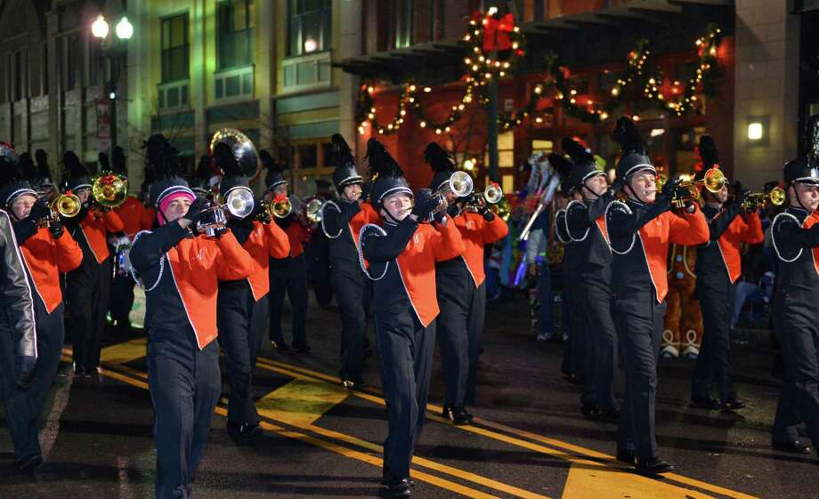 The Mohonasen Marching Band performs during the 46th Annual Gazette Holiday Parade Saturday Nov. 23, 2013, in Schenectady, NY.  (John Carl D'Annibale / Times Union) Photo: John Carl D'Annibale / 00024398A