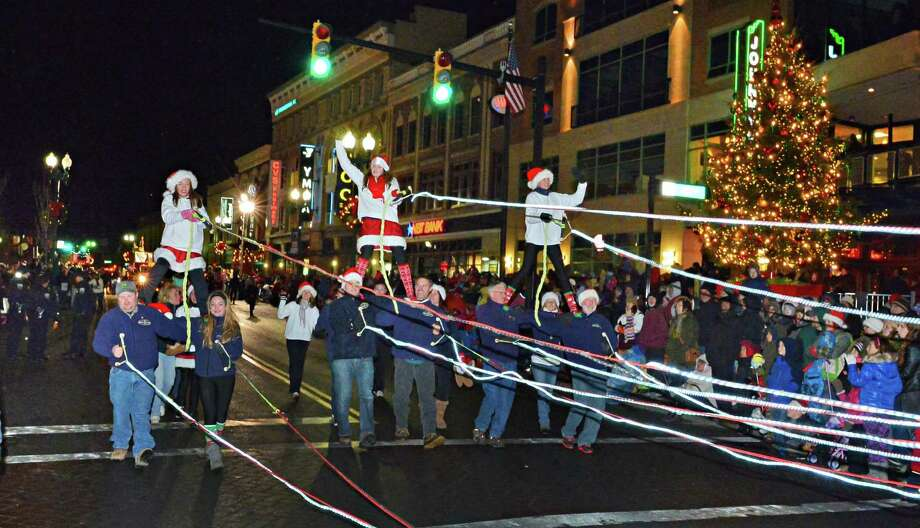 The US Waterski Skow Team during the 46th Annual Gazette Holiday Parade Saturday Nov. 23, 2013, in Schenectady, NY.  (John Carl D'Annibale / Times Union) Photo: John Carl D'Annibale / 00024398A