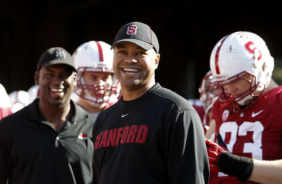 Stanford head coach David Shaw was all smiles before the start of the game, as the Stanford Cardinal prepares to take on the California Golden Bears in the 116th Big game match up on Saturday Nov. 23, 2013 at Stanford stadium in Palo Alto, Ca. Photo: Michael Macor, The Chronicle