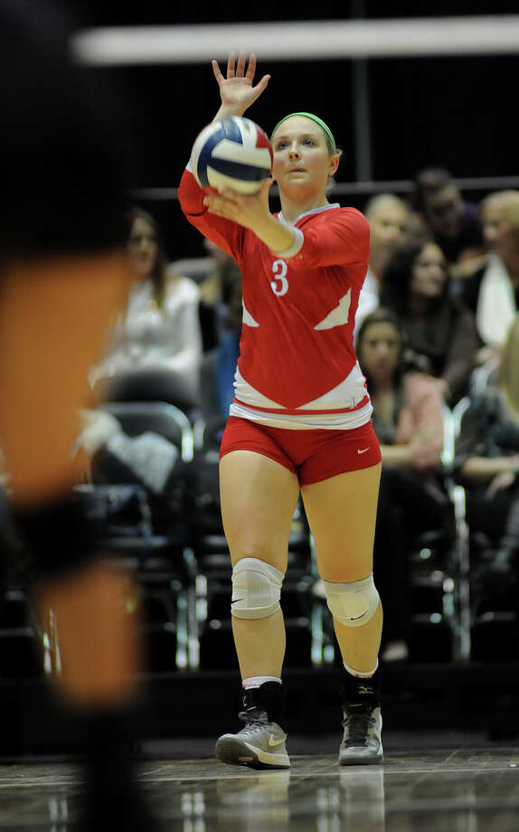 Bellville senior Briana Klotz sets to serve against Decatur during the finals of the Class 3A 2013 UIL State Volleyball Championships at the Culwell Center in Garland on Saturday. Photo: Jerry Baker, For The Chronicle