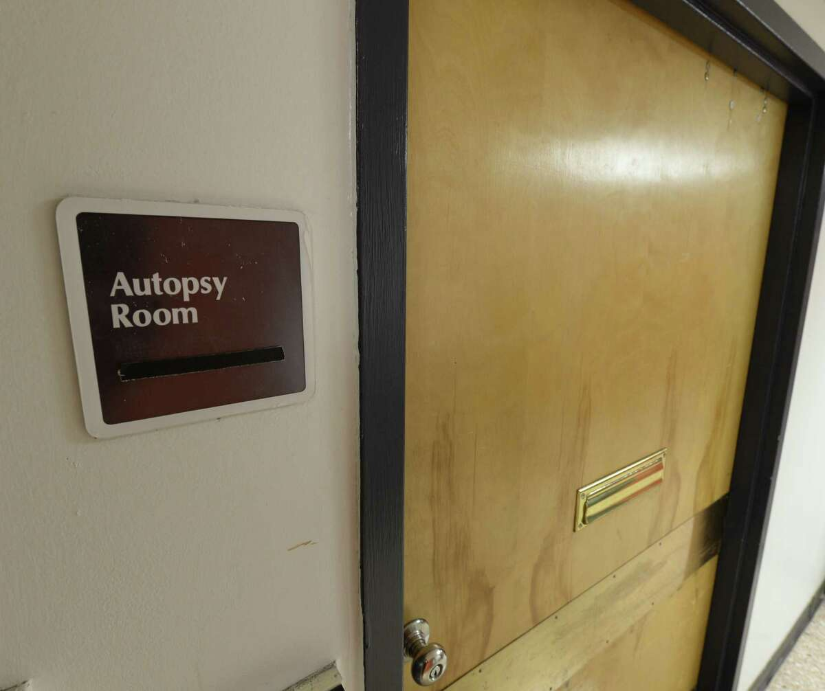 The door to the Autopsy Room Nov. 15, 2013 at the Albany Medical Center in Albany, N.Y. (Skip Dickstein / Times Union)