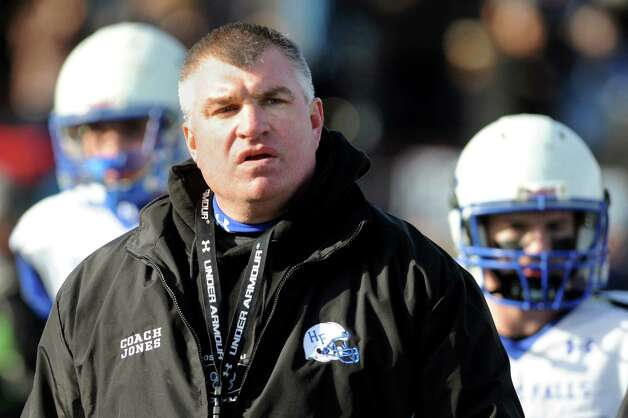 Hoosick Falls' coach Ron Jones following their Class C state semifinal football game against Rye Neck on Saturday, Nov. 23, 2013, at Dietz Stadium in Kingston, N.Y. (Cindy Schultz / Times Union) Photo: Cindy Schultz / 00024747A