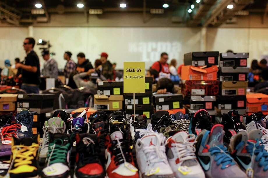 Shoes on display at the Sole Sisters booth are seen during the 2013 fall Sneaker Summit. Photo: © TODD SPOTH, 2013 / © TODD SPOTH, 2013