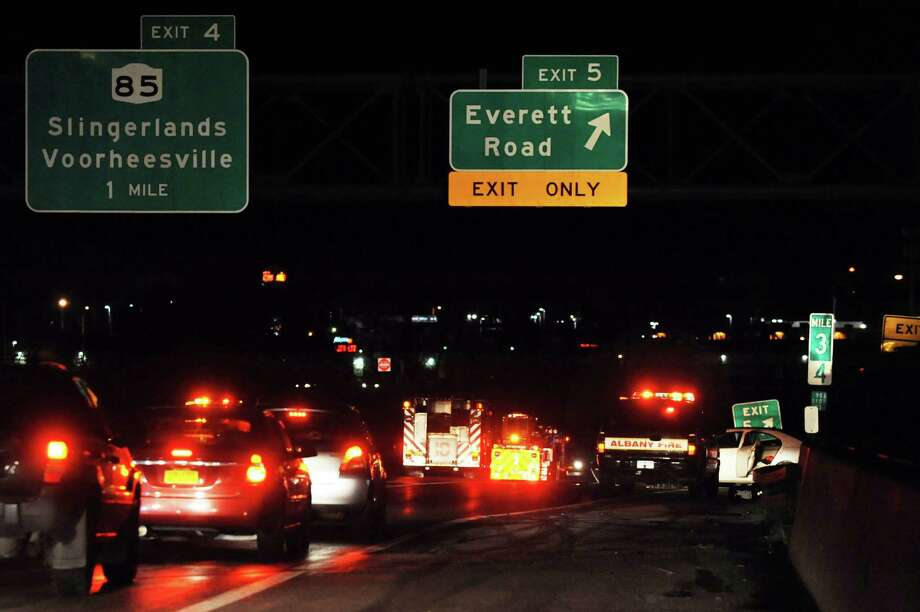 Traffic is at a standstill after a two-vehicle accident on westbound I-90 near Everett Road on Saturday, Nov. 23, 2013, in Albany, N.Y. (Cindy Schultz / Times Union) Photo: Cindy Schultz