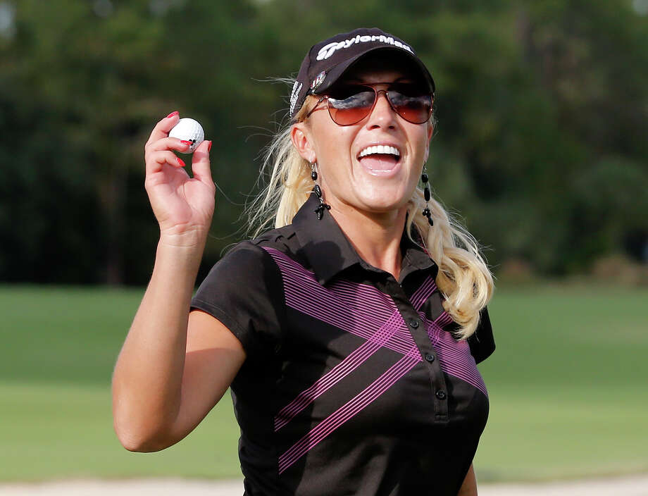 Natalie Gulbis recovered from a bogey on the par-5 opening hole to move into a three-way tie for the lead. Photo: Sam Greenwood, Staff / 2013 Getty Images