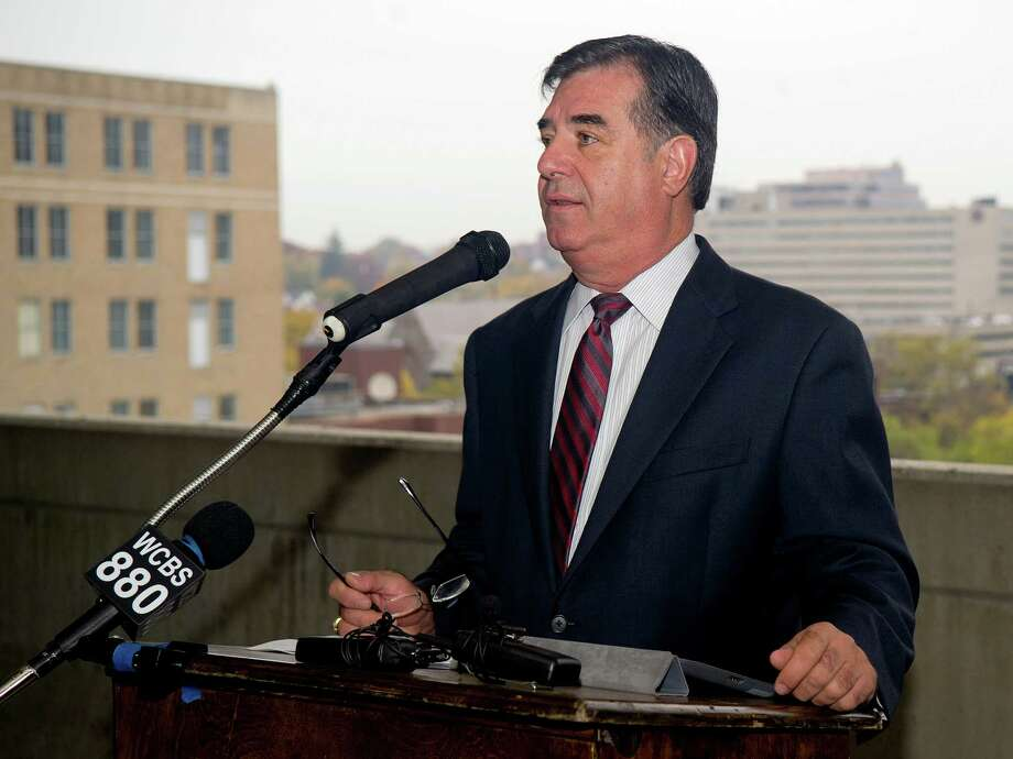 Mayor Michael Pavia speaks during a press conference to announce a development deal has been reached for a downtown Stamford site. Photo: Lindsay Perry / Stamford Advocate