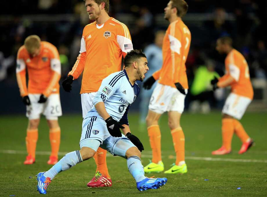 Sporting Kansas City forward Dom Dwyer deflates the Dynamo with a goal in the 63rd minute that proved to be the game-winner. Photo: Jamie Squire, Staff / 2013 Getty Images