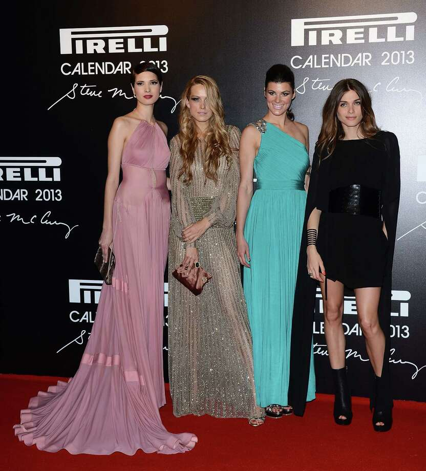 Hanaa Ben Abdesslem, Petra Nemcova, Summer Rayne Oakes and Elisa Sednaoui attend the '2013 Pirelli Calendar Unveiling' on November 27, 2012 in Rio de Janeiro, Brazil.  Photo: Venturelli, Getty Images / 2012 Venturelli