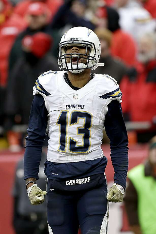 San Diego's Keenan Allen celebrates his team's winning touchdown in the closing seconds in Kansas City. Photo: Charlie Riedel, Associated Press