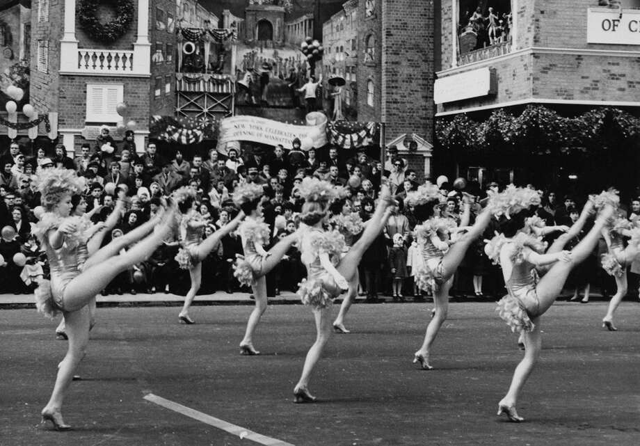High-kicking young ladies during the Macy's Thanksgiving Day Parade in New York City on Nov. 26, 1961. Photo: Archive Photos, Getty Images / 2011 Getty Images
