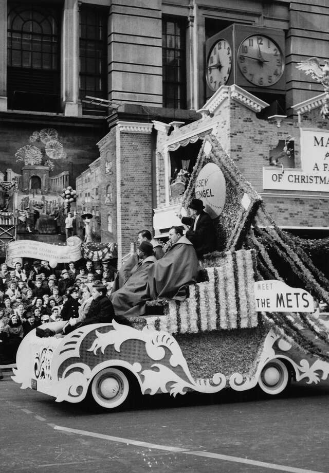 "Baseball manager Casey Stengel sits atop the ""Meet The Mets"" parade float during the Macy's Thanksgiving Day Parade in New York City on Nov. 26, 1961. The New York Mets were founded in 1962, and this served as an introduction to the new team. Photo: Archive Photos, Getty Images / 2011 Getty Images"