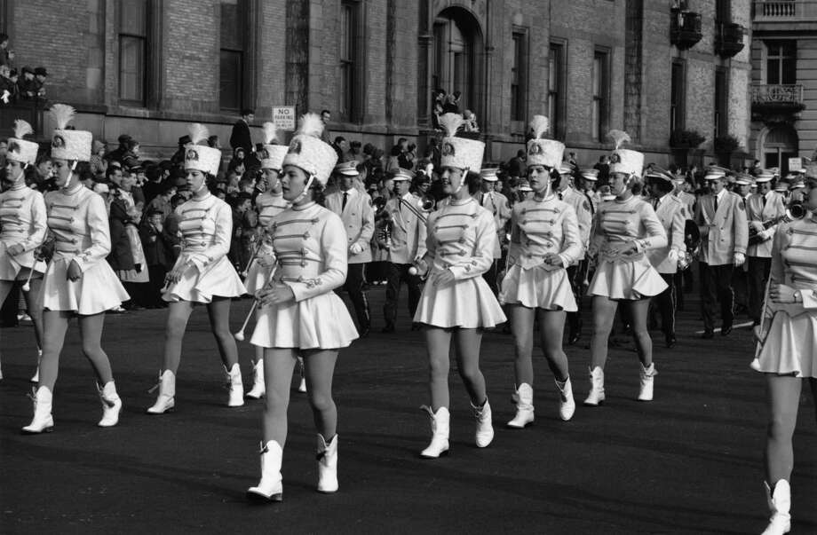A group of majorettes is seen marching toward Times Square during the Macy's Thanksgiving Day Parade in New York City on Nov. 26, 1961. Photo: William Lovelace, Getty Images / Hulton Archive