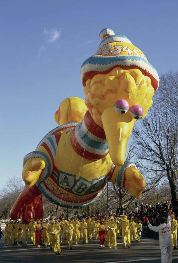 A balloon of Sesame Street's Big Bird is seen during the 1997 Macy's Thanksgiving Day Parade. Big Bird debuted in 1988. Photo: NBC, Getty Images / © NBC Universal, Inc.
