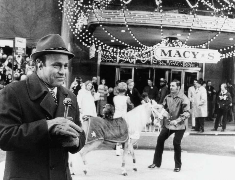 Announcer Joe Garagiola is seen during the 1970 Macy's Thanksgiving Day Parade. Photo: NBC, Getty Images / © NBC Universal, Inc.