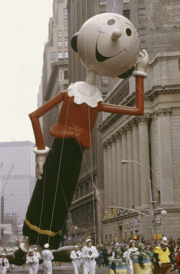 The Olive Oyl balloon — the first female character in the parade — is seen during the 1983 Macy's Thanksgiving Day Parade, a year after its debut. Photo: NBC, Getty Images / © NBC Universal, Inc.