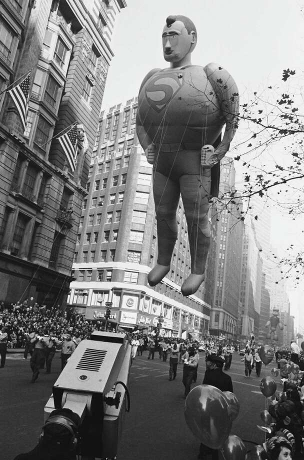 The new Superman balloon passes overhead during the Macy's Thanksgiving Day Parade in 1966. The balloon was first introduced in 1939; this is the second version. Photo: NBC, Getty Images / © NBC Universal, Inc.