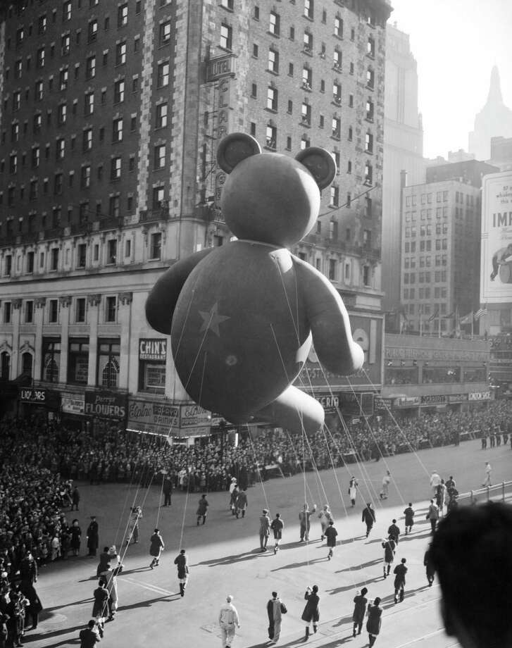 A teddy bear balloon is seen during the 1945 Macy's Thanksgiving Day Parade. Photo: NBC, Getty Images / ? NBC Universal, Inc.