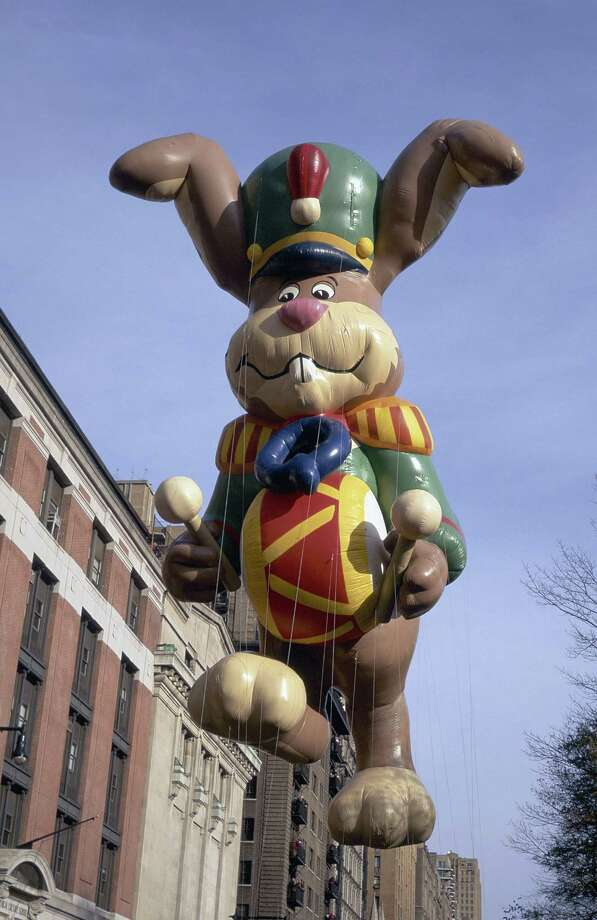 The Nesquik Bunny balloon is seen during the 1996 Macy's Thanksgiving Day Parade. Nequik joined the parade in 1988. Photo: NBC, Getty Images / © NBC Universal, Inc.