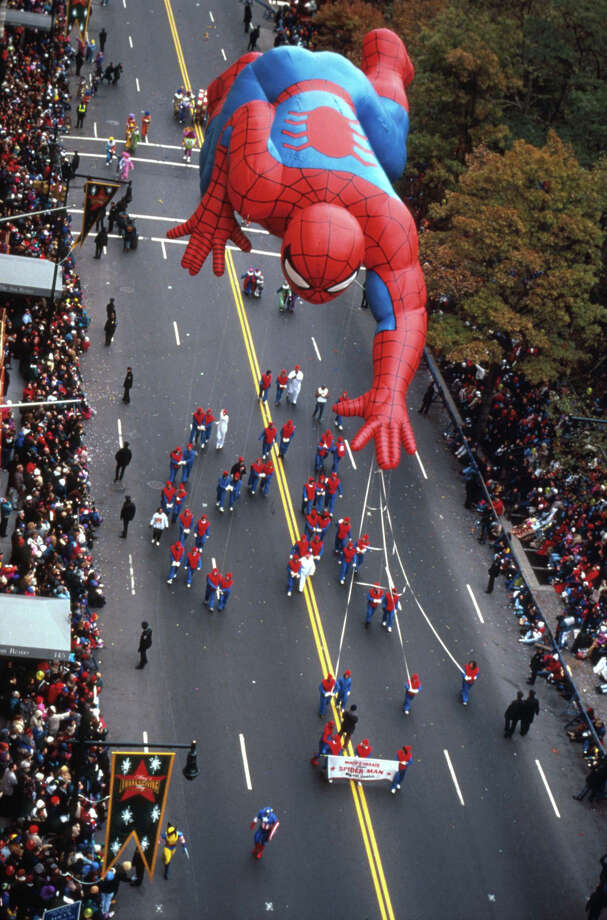 The Spider-Man balloon floats in the air at the 69th Macy's Thanksgiving Day Parade on Nov. 23, 1995, in New York City. Spider-Man's parade debut was in 1987. Photo: Evan Agostini, Getty Images / Hulton Archive