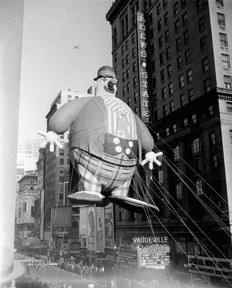 The Harold the Clown balloon passes overhead during its debut in the 1945 Macy's Thanksgiving Day Parade. Photo: NBC, Getty Images / ? NBC Universal, Inc.