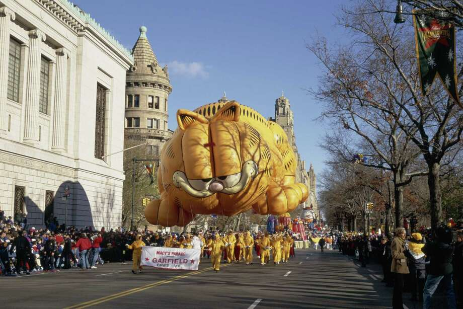 The Garfield balloon is seen during the 1997 Macy's Thanksgiving Day Parade. Garfield joined the parade in 1984. Photo: NBC, Getty Images / © NBC Universal, Inc.