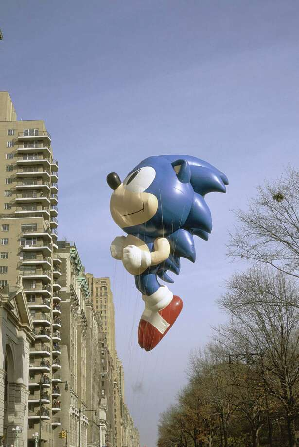 The Sonic the Hedgehog balloon is seen during the 1996 Macy's Thanksgiving Day Parade. Sonic, the first video game character to appear in the parade, was introduced in 1993. Photo: NBC, Getty Images / © NBC Universal, Inc.