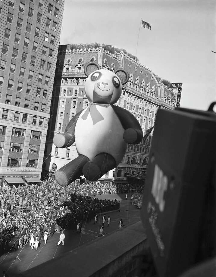 A teddy bear balloon floats by during the 1946 Macy's Thanksgiving Day Parade. Photo: NBC, Getty Images / © NBC Universal, Inc.