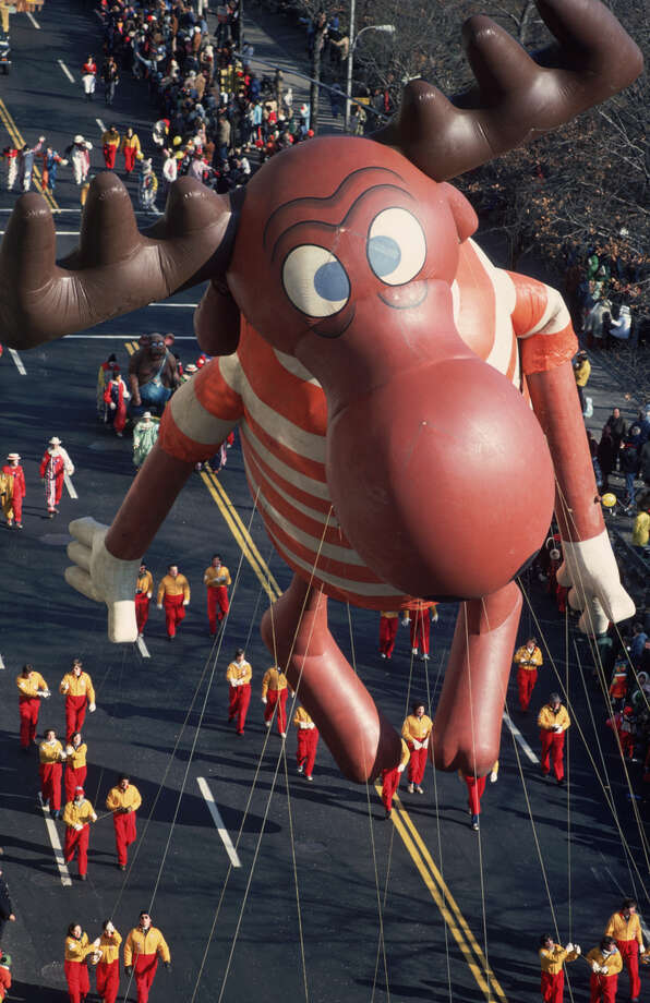 Bullwinkle J. Moose makes his down the route during the 1975 Macy's Thanksgiving Day Parade in New York. Bullwinkle made his parade debut in 1961. Photo: Ernst Haas, Getty Images / Ernst Haas