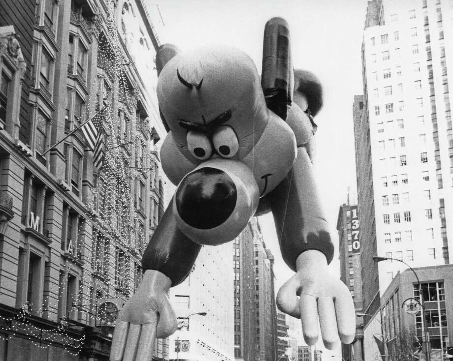 The Underdog balloon, which debuted in 1965, is seen during the 1982 Macy's Thanksgiving Day Parade. Photo: NBC, Getty Images / ? NBC Universal, Inc.