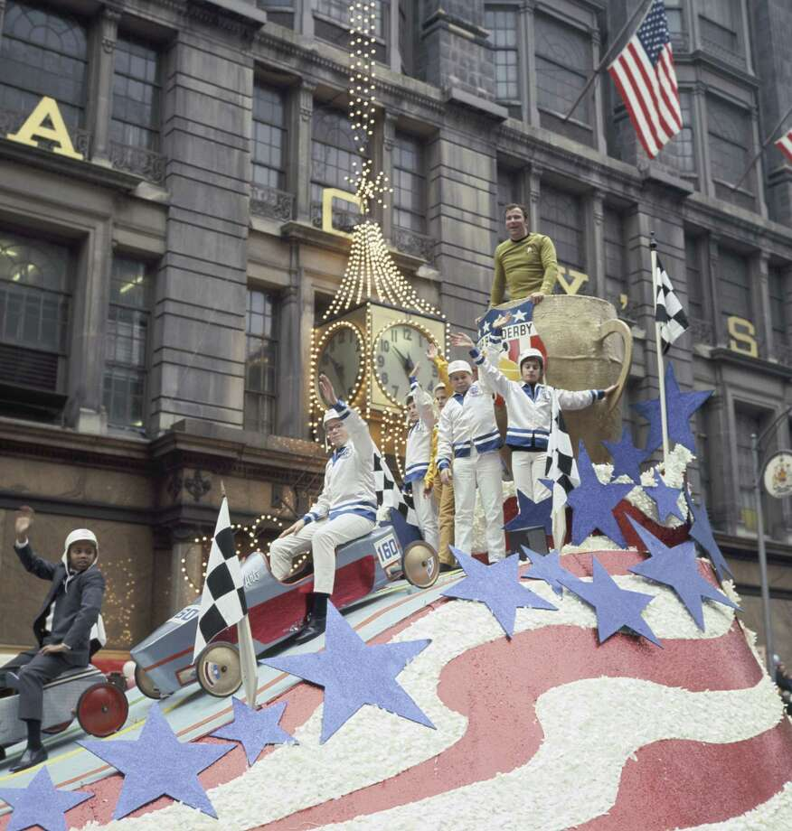 """Star Trek"" star William Shatner appears on a float with soapbox derby members during the 1968 Macy's Thanksgiving Day Parade. Photo: NBC, Getty Images / © NBC Universal, Inc."