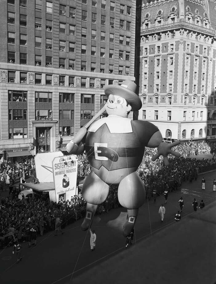 A pilgrim balloon floats by during the 1946 Macy's Thanksgiving Day Parade in New York City, the first year the parade was televised locally. National broadcasts would begin in 1947. Photo: NBC, Getty Images / © NBC Universal, Inc.