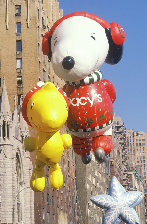 The first Snoopy and Woodstock balloon, which joined the parade in 1988, is seen during 